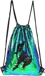Magic Reversible Sequin Drawstring Shoulder Backpack Lightweight Sports Gym Bag