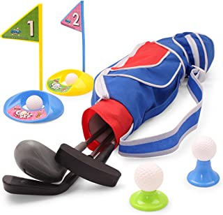 EXERCISE N PLAY Deluxe Happy Kids/Toddler Golf Clubs SetGrow-to-Pro Golfer 15 Piece Set (Blue)