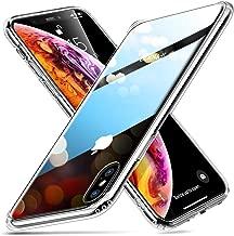ESR Funda para iPhone XS MAX Cristal Templado [Imita la Parte Posterior del Vidrio del iPhone XS MAX] [Resistente a los Arañazos] + Borde de Silicona Suave para Apple iPhone XS MAX -Transparente