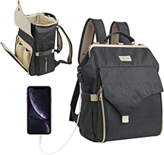 Upgrade Zipper Baby Backpack Diaper Bag, Multifunction Waterproof Travel Back Pack Bags Organizer Pouches for Mom, Dad, Mens, Women (Black)