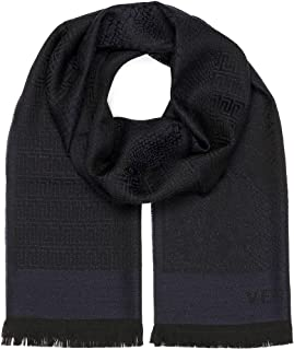 Versace Collection Navy Medusa Geometric Scarf