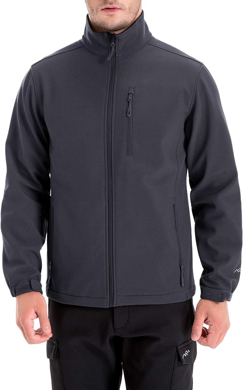 TRAILSIDE SUPPLY CO. Mens Softshell Fleece-Lined Jackets/Winter Outdoor Coats/Windbreaker/Medium-Weight Water-Repellent.
