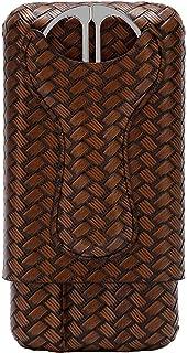 KUCHEQICHE Cigarette Case, Leather Cigar Case Portable 3 Cigar Cutter Cot (Color : Brown, Size : 170 * 87 * 33mm)