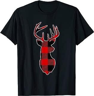 Reindeer Deer Christmas Buffalo Plaid Holiday T-Shirt