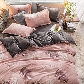 RESUXI Christmas Duvets Sets Double,Autumn and Winter Warm Cotton Plus Velvet Small Fresh Linen Quilt Cover Thick Falais,Teddy Fleece Bedding Set@J_King