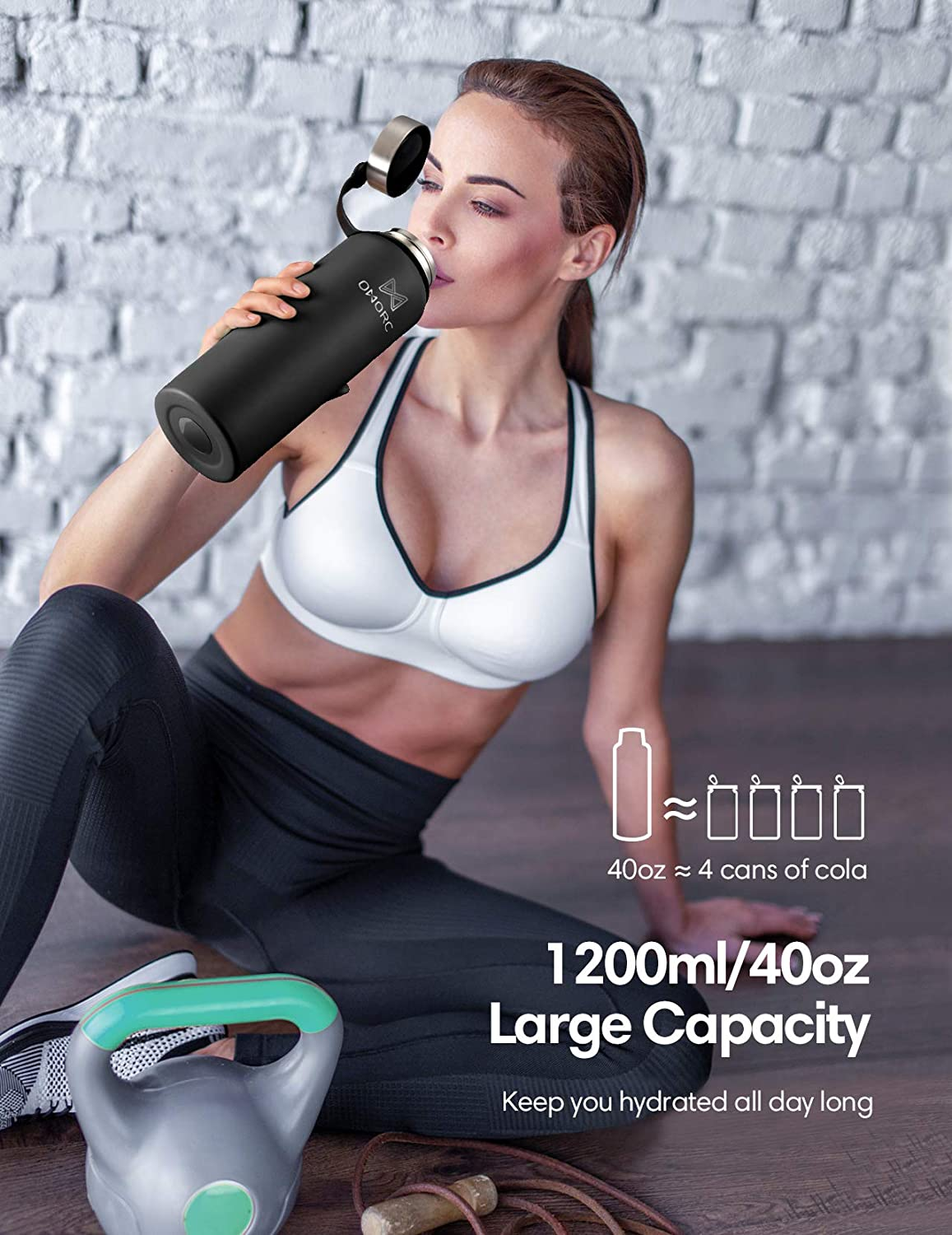 Hot for 24 Hrs Stay Cold for 48 Hrs Double Wall Vacuum Insulated Water Bottle Carry Pouch OMORC Stainless Steel Water Bottle Wide Mouth Thermo Bottle with BPA Free Flex Cap Straw Lid