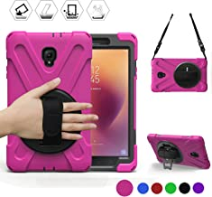 BRAECN Samsung Galaxy Tab A 8.0 2017 Case Three Layer Heavy Duty Soft Silicone Hard Bumper Case with Stand+Hand Strap+Shoulder Strap Case for Galaxy Tab A 8''(New) SM-T380/T385 2017 Release (Pink)