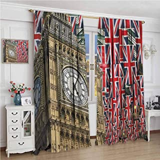GUUVOR Union Jack for Bedroom Blackout Curtains UK Flags Background with Big Ben Festive Celebrations Loyalty Blackout Curtains for The Living Room W96 x L72 Inch Pale Coffee Navy Blue Red