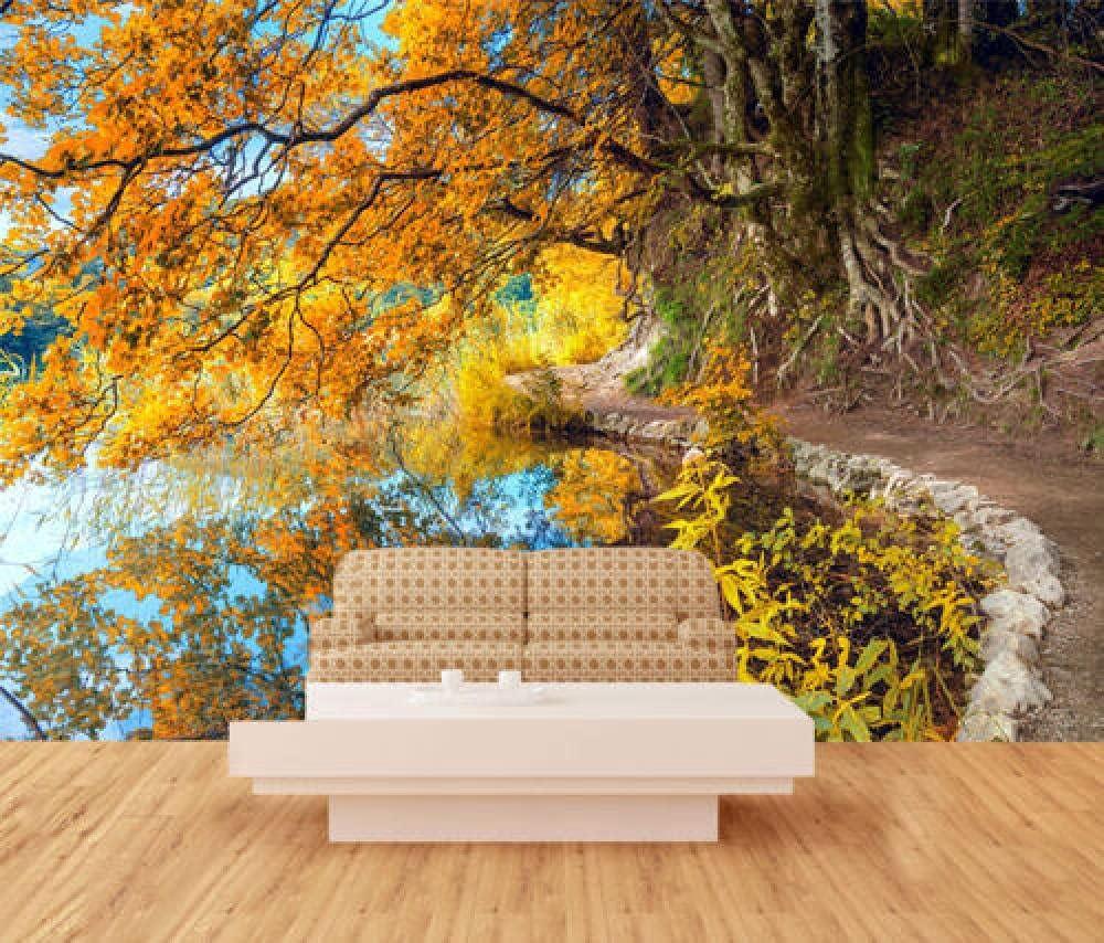 Pbldb 3D Lakeside Color Trees Wallpaper Home Decal Dercor Kids online Cheap bargain shop N