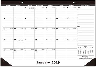 "Nekmit 2019 Monthly Desk Pad Calendar, Ruled Blocks, 16-3/4"" x 11-4/5"", Black"