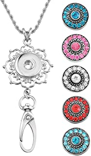 Souarts Womens Office Lanyard ID Badges Holder Necklace with 5pcs Rhinestone Snap Charms Jewelry Pendant Clip