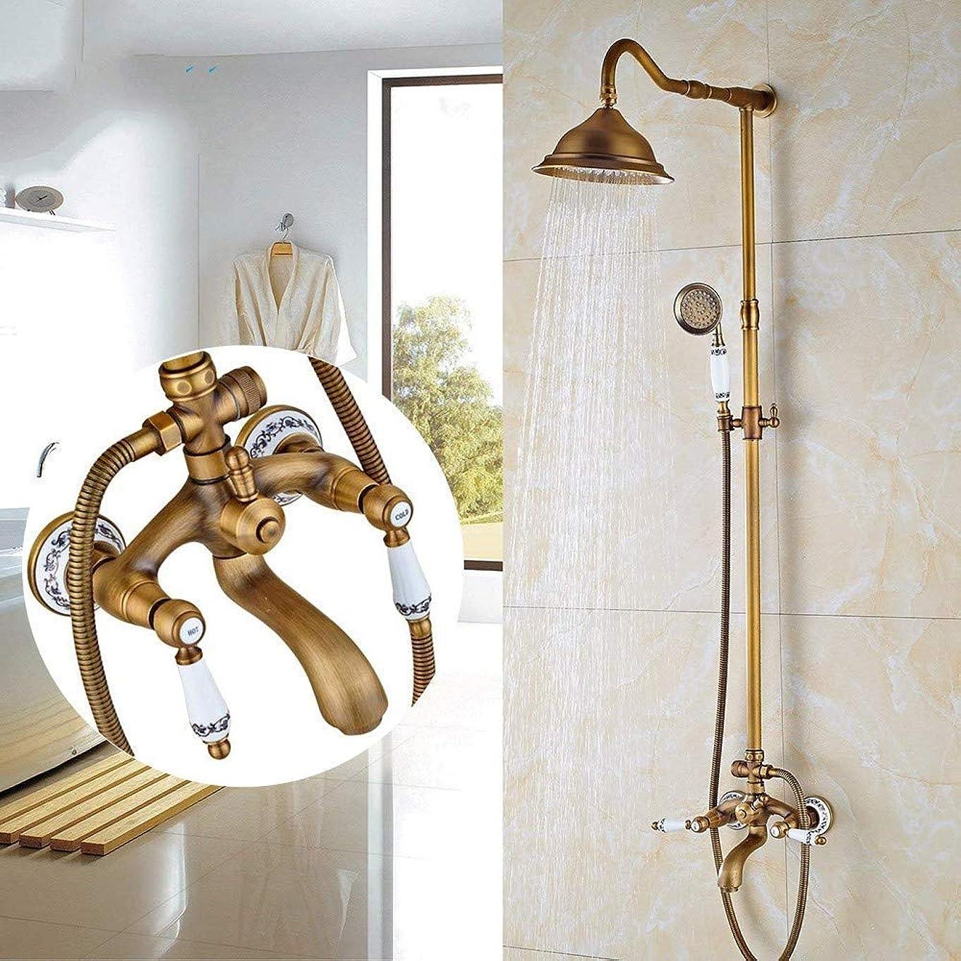 白菜オセアニア軍団シャワーヘッド 取り付け簡単 シャワーセットデュアルハンドル風呂シャワー蛇口アンティーク真鍮8