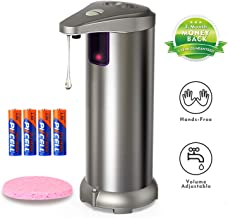 Nozama Soap Dispenser, Stainless Steel Touchless Automatic Soap Dispenser Equipped 4PCS AAA Alkaline Battery w/Infrared Motion Sensor Waterproof Base Adjustable Switches Suitable for Bathroom Kitchen