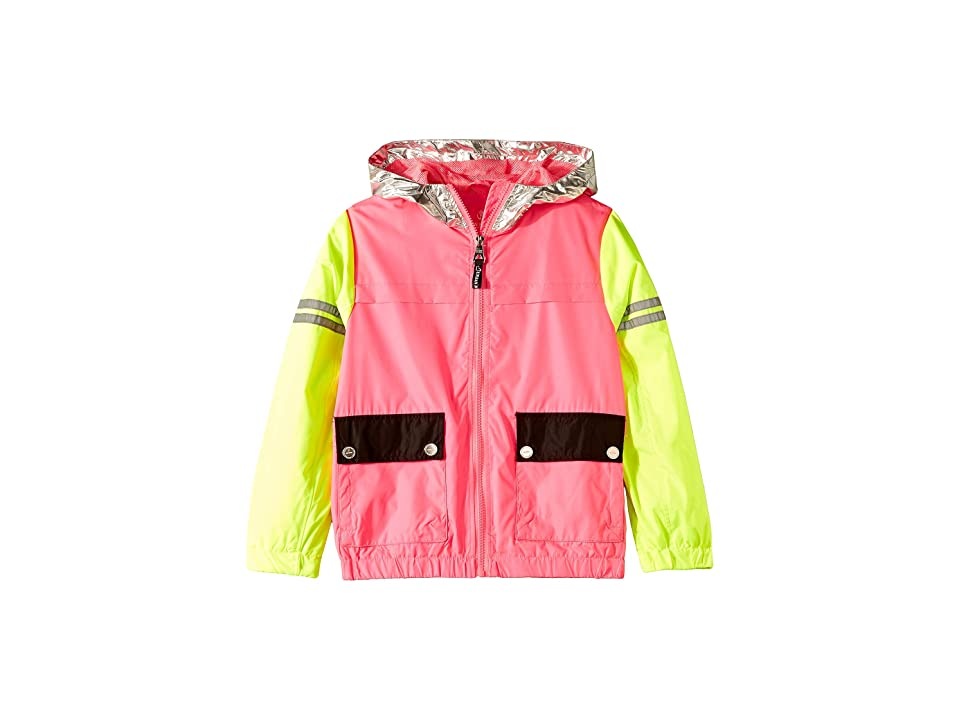 Urban Republic Kids Zip-Up Windbreaker with Metallic Hood (Little Kids/Big Kids) (Lime/Fush) Girl