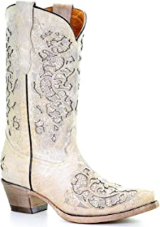 Corral Boots Kids Girl Leather Dahlia Embroidery Taupe Cowgirl 2.5 T