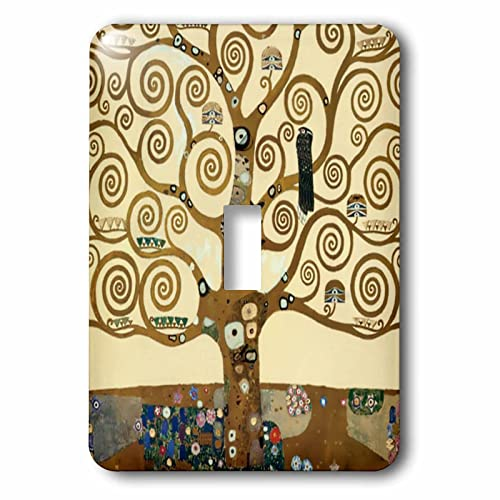 3dRose lsp_155632_1 The Tree Of Life 1909 By Gustav Klimt Stylish Swirling Branches Brown Fine Art Deco Swirls Single Toggle Switch