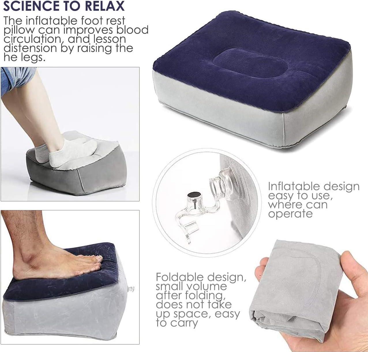 Coussin gonflable pour les pieds d/'avion repose-pieds pour avion bleu Am/éliore la circulation sanguine et soulage la fatigue repose-pieds pour les jambes et le voyage pour les avions
