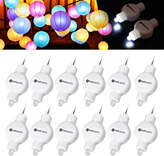 12 Pack White Mini Party Lights, YUNLIGHTS Waterproof Battery Operated Lantern Lights for Paper Lanterns Balloons Party Decoration