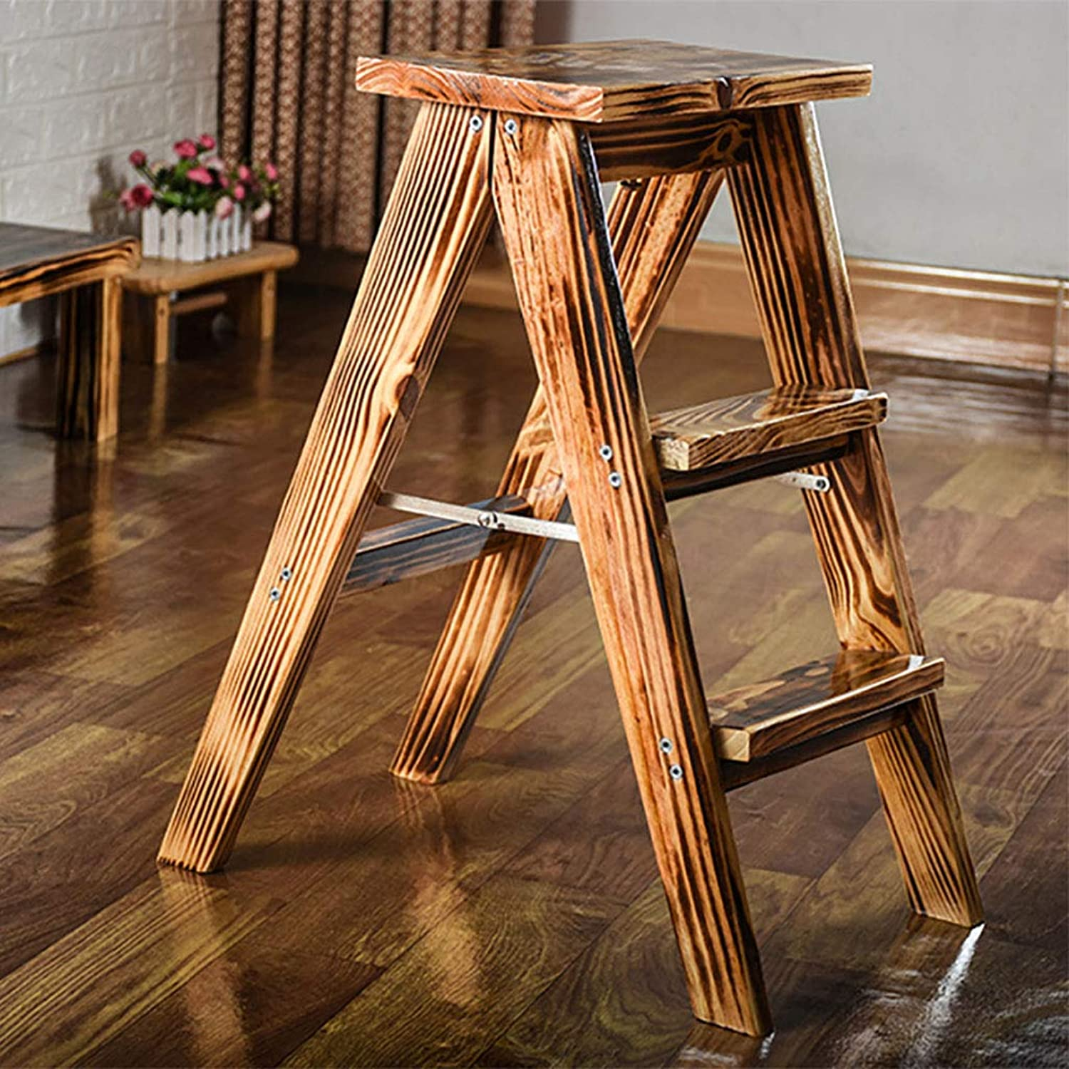GAIXIA-Ladder stool Multifunctional Folding Ladder Stool Stairs Solid Wood Portable Home Desktop Kitchen (color   B)