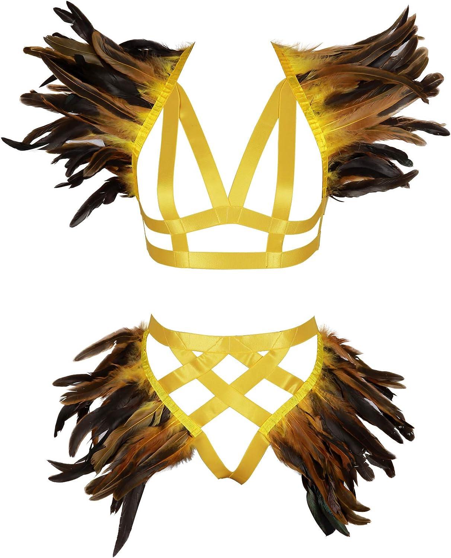 Feathers Epaulets Full Body Harness Bra Lingerie Cage Women's Garter Belt Set Chest Strap Plus Size Punk Festival Rave