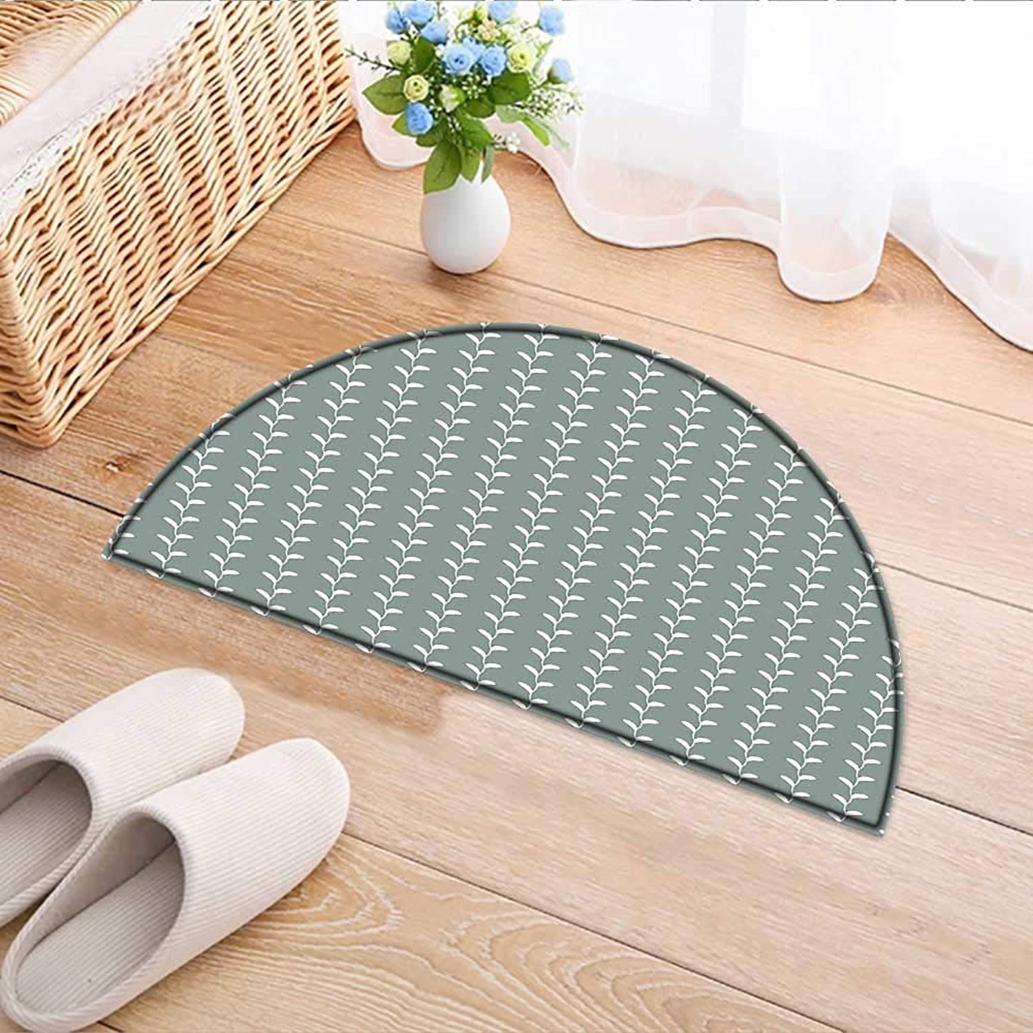 Semicircle Area Rug Carpet Classic Wavy Branches with Leaves greenical Lined Nature Themed Light Sage Green White Door mat Indoors Bathroom Mats Non Slip W59 x H35 INCH