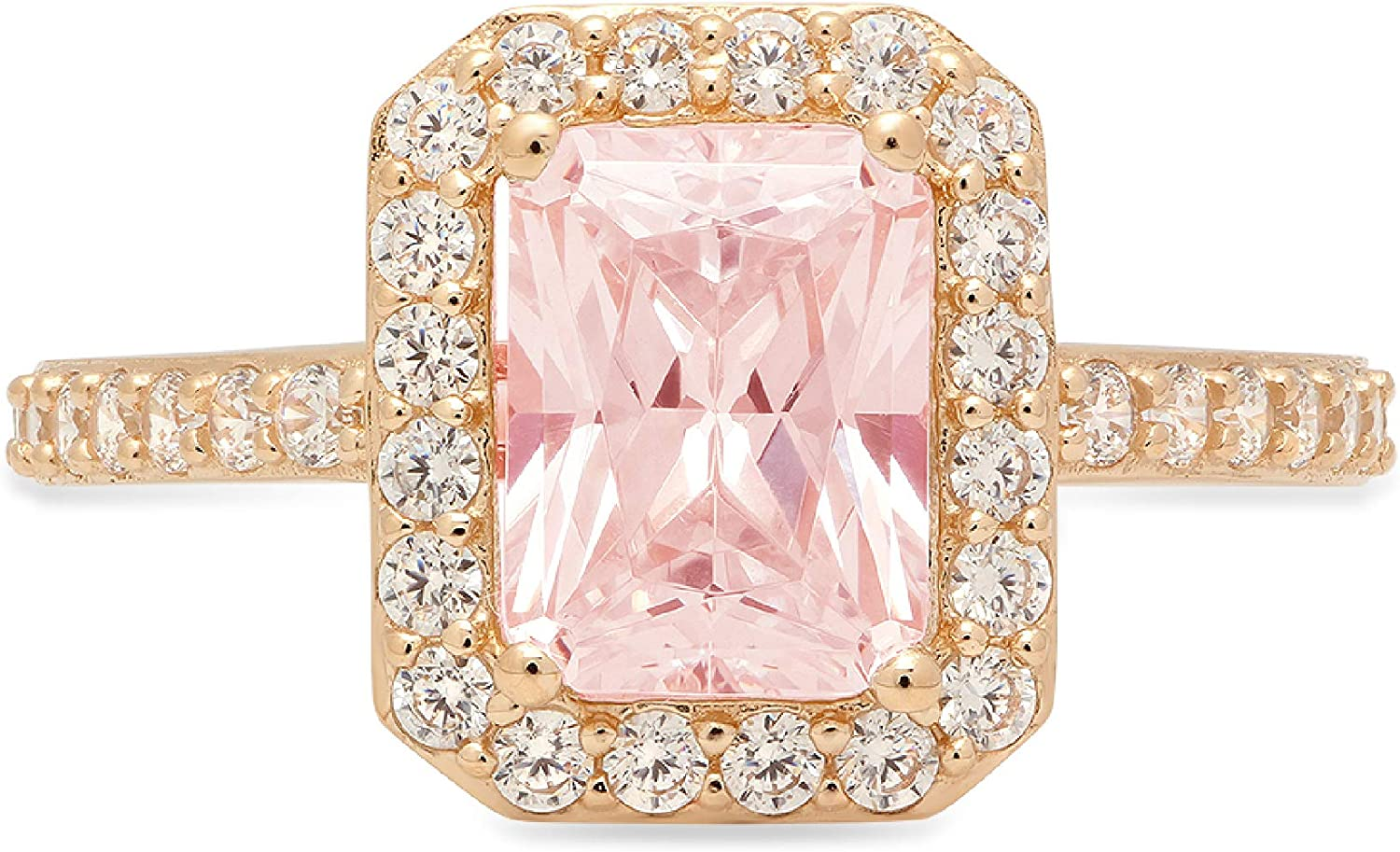 2.01ct Brilliant Emerald Cut Solitaire with Accent Halo Pink Ideal VVS1 Simulated Diamond CZ Engagement Promise Statement Anniversary Bridal Wedding Ring 14k Yellow Gold
