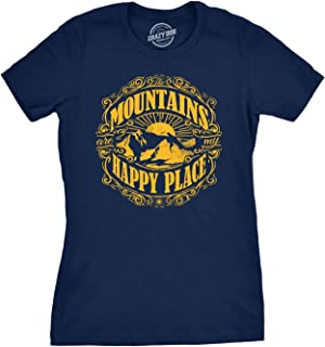Womens Mountains are My Happy Place Cool Vintage Rockies Outdoor Nature T Shirt