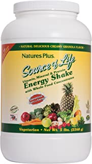 NaturesPlus Source of Life Energy Shake - 5 lbs, Vegetarian Drink Mix - Granola Flavor - Multivitamin, Mineral & Protein Powder - Whole Food Meal Replacement - Non-GMO, Gluten-Free - 58 Servings