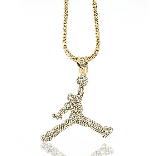 e4e5587cb68 Hip Hop Jewels ICED OUT GOLD AIR JORDAN PENDANT & 36