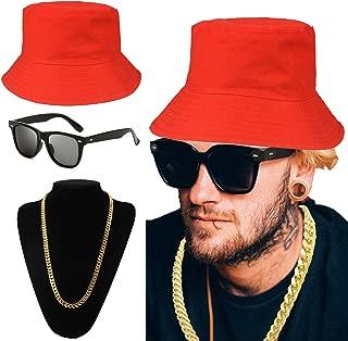 ZeroShop 80s/90s Hip Hop Costume Kit - Cotton Bucket Hat,Gold Chain Beads,Oversized Rectangular Hip Hop Nerdy Lens Sunglasses