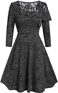 YOCheerful Winter Dress Fashion Womens Solid Long Sleeve Dress O-Neck Asymmetric Lace Casual Dress