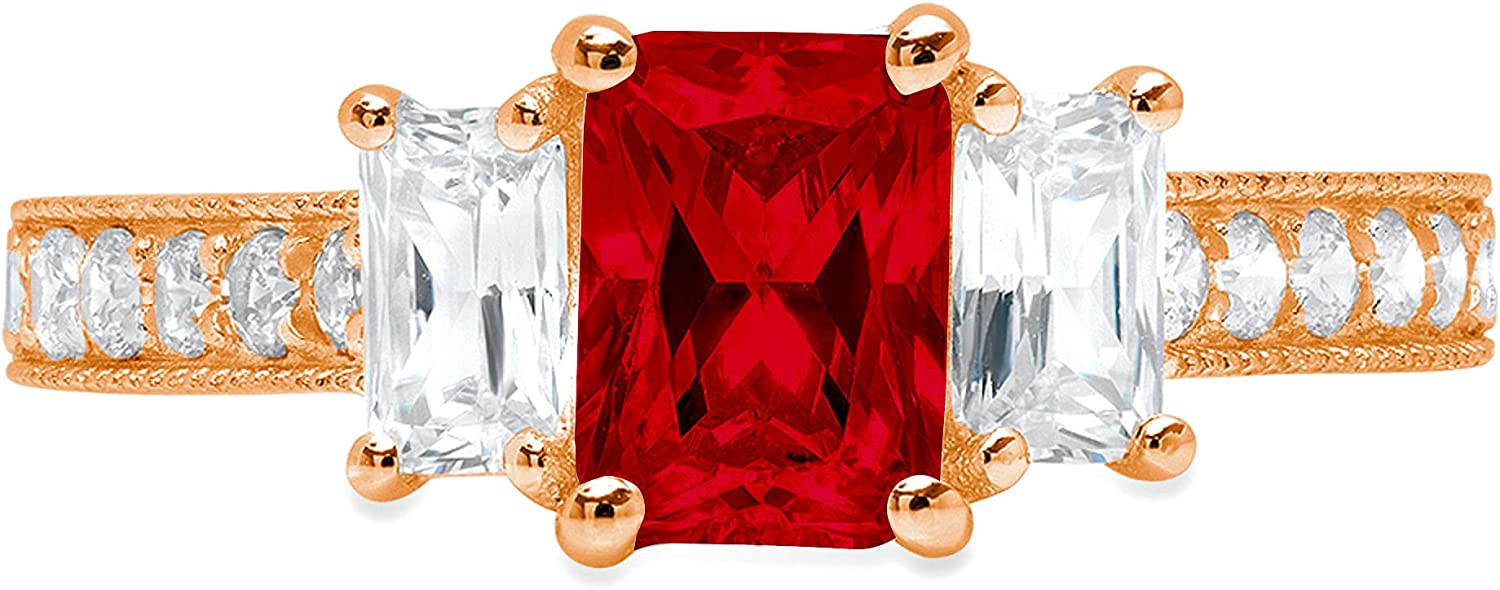1.82 ct Emerald Round Cut Solitaire 3 stone Accent Genuine Flawless Natural Red Garnet Gemstone Engagement Promise Statement Anniversary Bridal Wedding Ring Solid 18K Rose Gold
