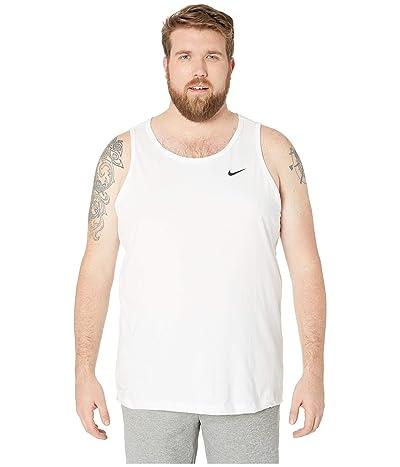 Nike Big Tall Dry Tank Top Dri-Fit Cotton Solid (White/Black) Men