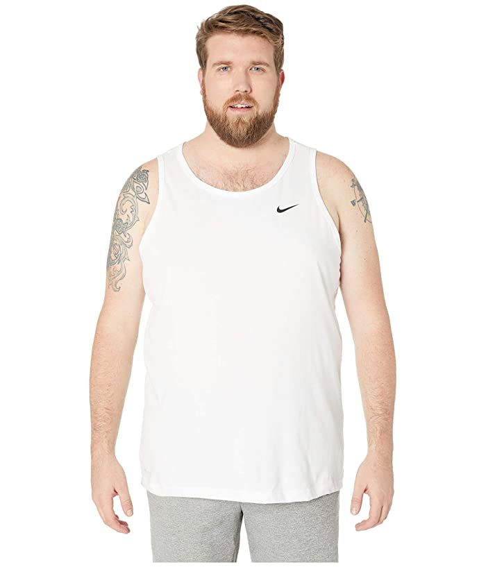 Nike Big Tall Dry Tank Top Dri-Fit Cotton Solid (White/Black) Men
