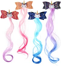 FRCOLOR 4Pcs Baby Unicorn Hair Clips with Bow Colored Unicorn Wavy Hair Extensions Clip in Synthetic Hairpieces Ponytail C...