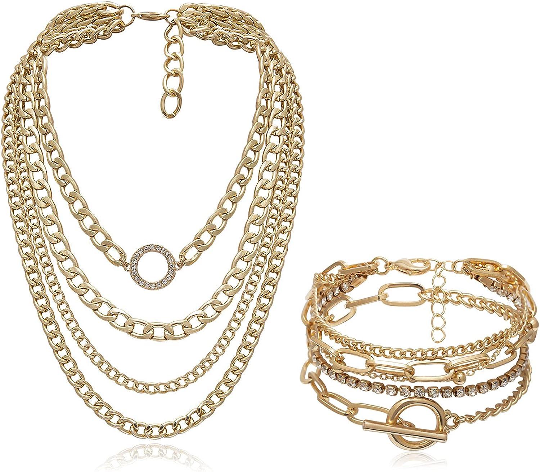 COLORFUL BLING Punk Multiple Layered Chunky Toggle Chain Shiny Rhinestone Geometric Pendant Necklace with Bracelet Set Hip Hop Women Men Jewelry