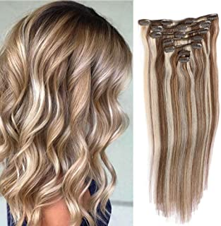 "Remy Clip in Hair Extensions Blonde Balayage 70grams 15"" Short Straight Human Hair Extensions Clips in Medium Brown to Bleach Blonde Highlights 7 Pieces(#4/613)"