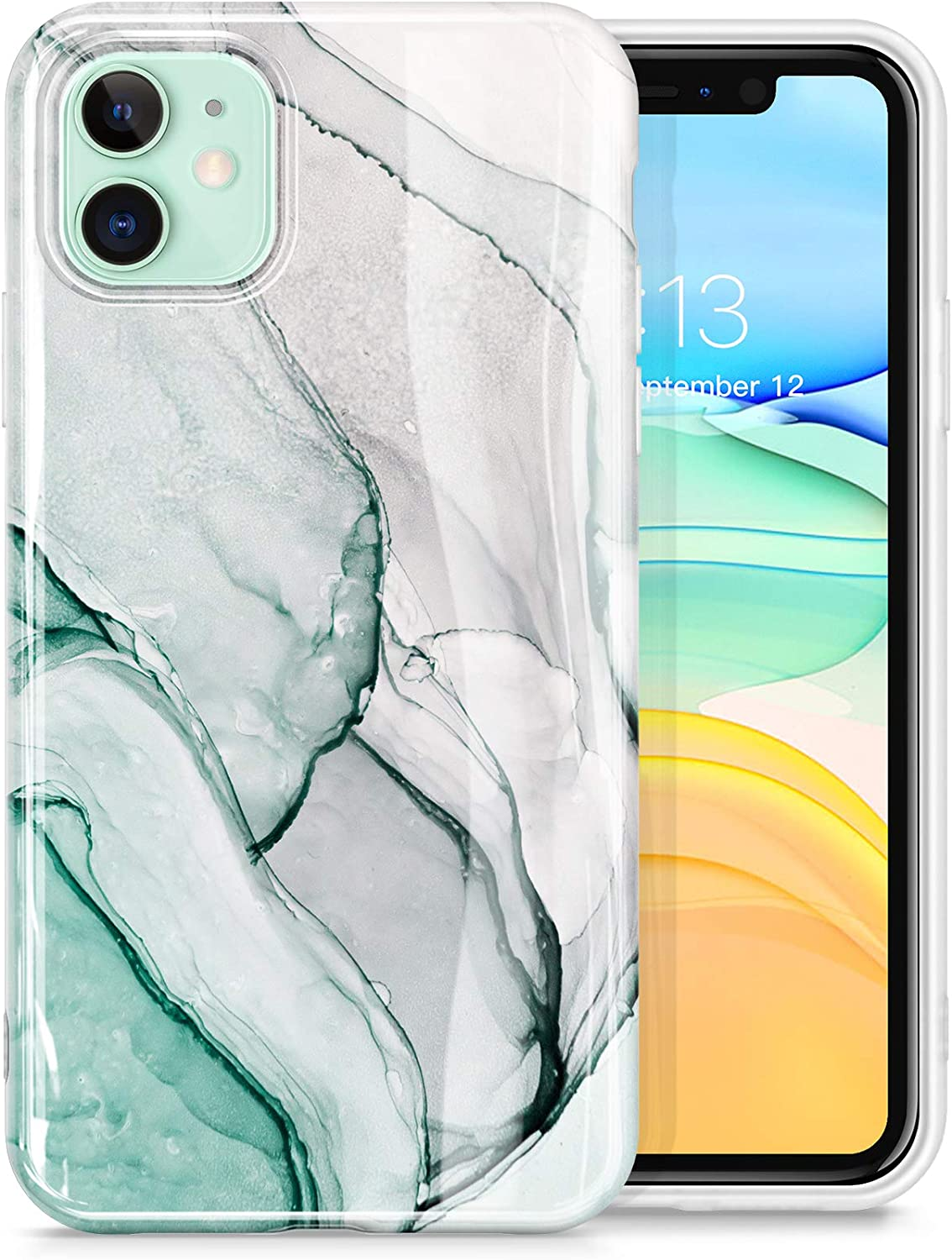 GVIEWIN Marble Compatible with iPhone 11 Case, Ultra Slim Thin Glossy Soft TPU Rubber Gel Phone Case Cover Compatible with iPhone 11 6.1 Inch 2019 (Agaria/Cyan)