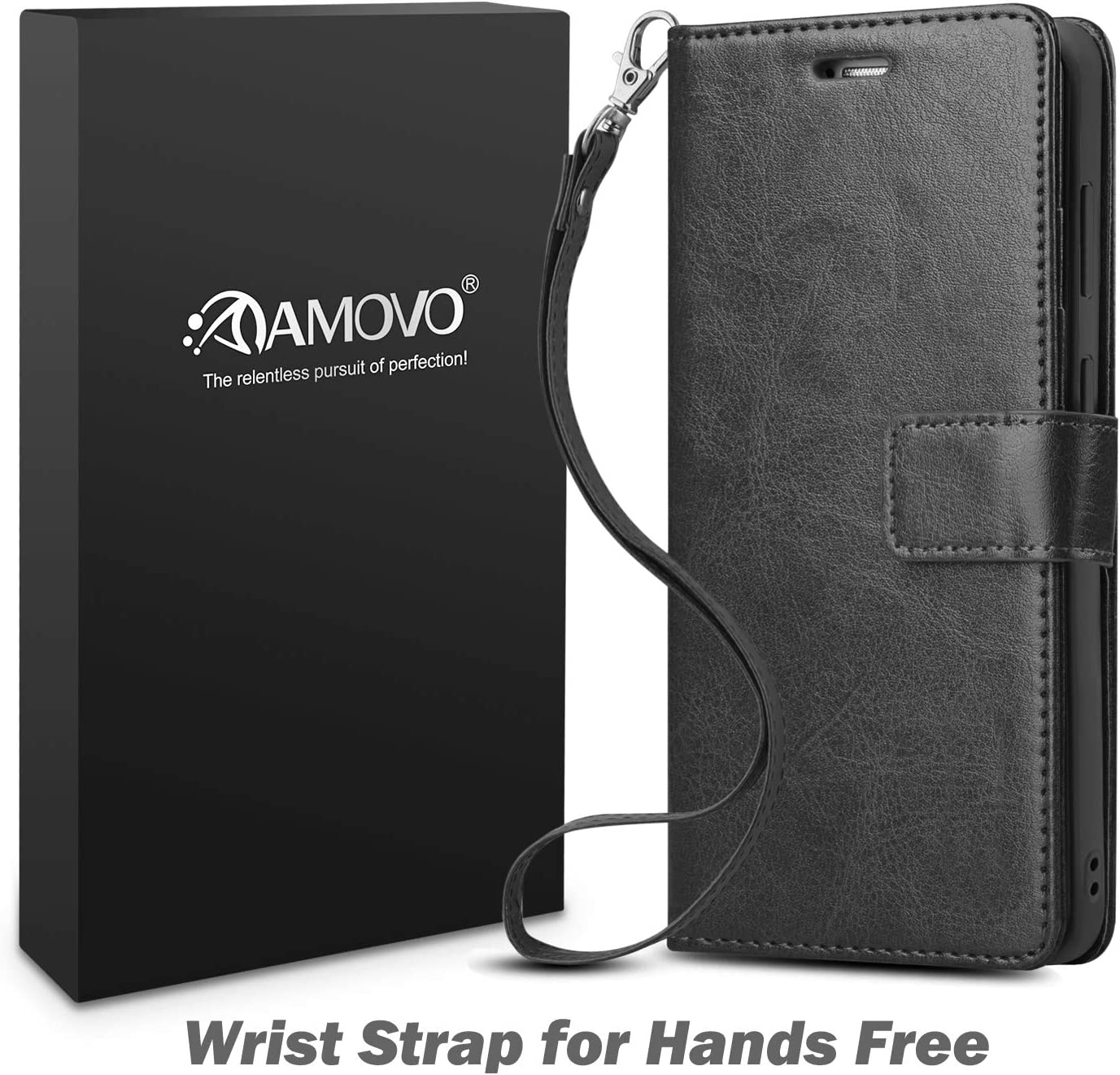 AMOVO Wallet Case for Samsung Galaxy S21 Plus [2 in 1Detachable] Leather Flip Case [Vegan Leather][Card Slot][Magnetic Clasp] Protective Case Cover for Galaxy S21+ (6.7'') (Black)