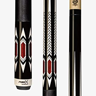 PureX HXT95 Pool Cue Stick - Low Deflection Technology Midnight Black with Weave Point & Cocobolo Design, Kamui Black Soft 12.75mm Tip, 19-Ounce