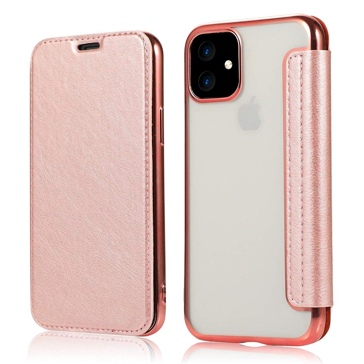 アレルギー性石のダースYUYIB iPhone 11 ケース 手帳型 クリア 背面 薄型 透明 高級なPUレザー 衝撃吸収 シンプル カード収納 純正 携帯カバー iPhone11 6.1
