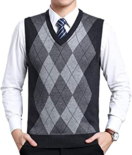 Biutimarden Mens Knitwear Gilet V-Neck Sleeveless Jumper Diamond Lattice Knitted Waistcoat Casual Sweater Vest Gentleman T...