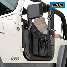 EAG Pocket Steel Tubular Door with Side View Mirror Fit for 97-06 Jeep Wrangler TJ