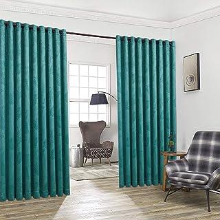 WARM HOME DESIGNS Par de 2 Cortinas Divisorias de Habitación de Color Verde Azulado Extra Anchas y Extra Largas de 274 cm ...