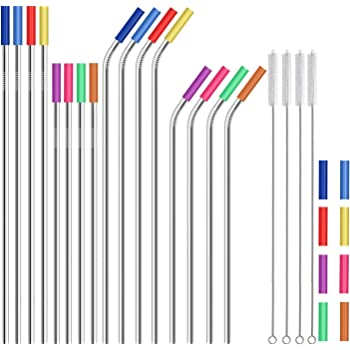 """Stainless Steel Straws,Set of 16 10.5"""" 8.5"""" Metal Straws,Eco Friendly Reusable Drinking Straws for 16 20 24 30 oz Yeti Rtic Tumbler,Extra Long Metal Straws with 24 Silicone Tips,4 Cleaning Brushes"""