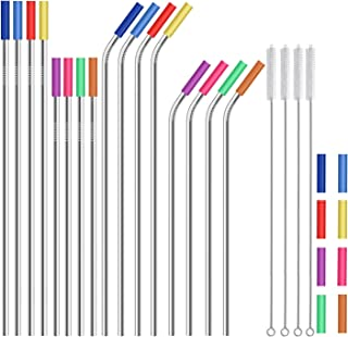 """Stainless Steel Straws,Set of 16 10.5"""" 8.5"""" Reusable Metal Straws,Straws Drinking Reusable for 20 24 30 oz Yeti Tervis Rtic Tumbler,Extra Long Metal Straws with 24 Silicone Tips,4 Cleaning Brushes"""