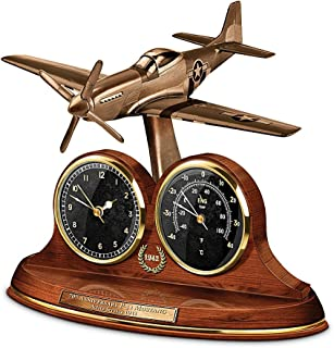 The Bradford Exchange Tabletop Clock: P-51 Mustang 70th Anniversary Thermometer Tabletop Clock