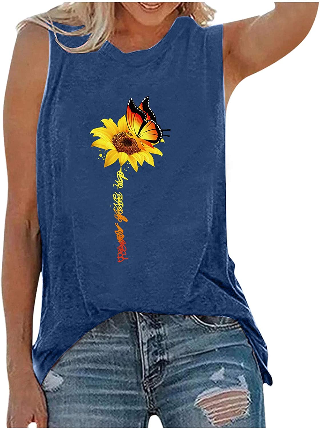 soyienma Tank Tops for Women,Womens Printed Vest O Neck Tshirt Sleeveless Workout Blouse Casual Summer Tank Top Tunic Tee