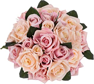 Artiflr Artificial Flowers Rose Bouquet 2 Pack Fake Flowers Silk Plastic Artificial White Roses 18 Heads Bridal Wedding Bouquet for Home Garden Party Wedding Decoration (Champagne)