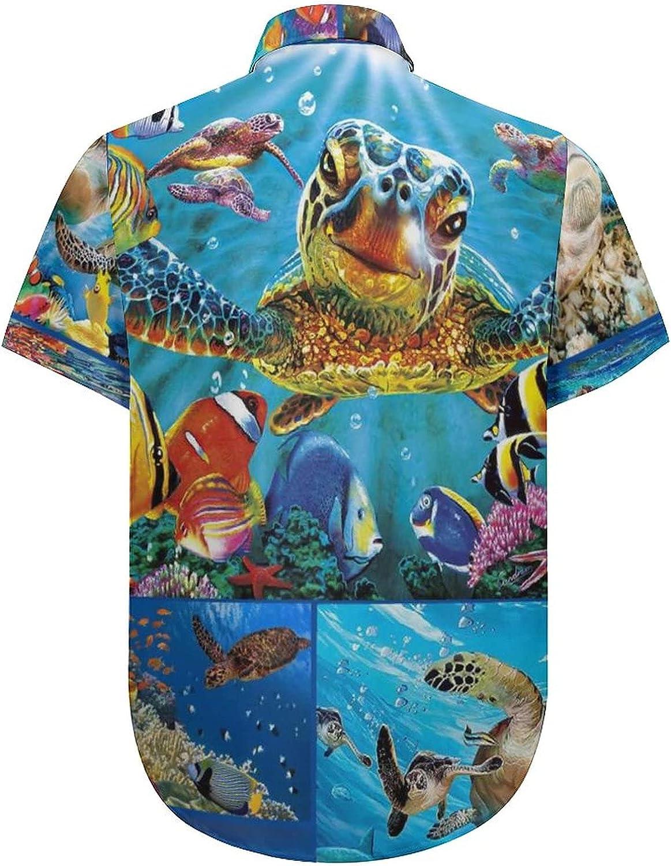 Hawaiian Shirts for Men Colorful Sea Turtle Printed Beach Shirt Hawaiian Shirts